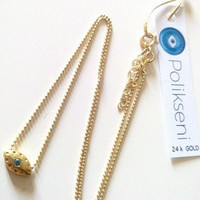 Nostos Evil Eye with zircon stone and gold chain necklace