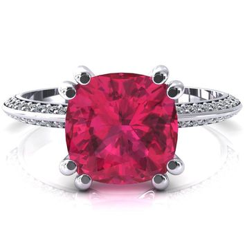 Nancy Cushion Ruby 4 Double Prong 1/2 Eternity Diamond Knife Shank Accent Engagement Ring