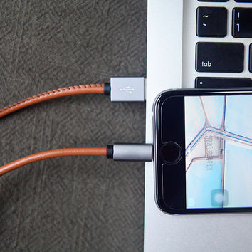 Leather Iphone 5/6/6plus Iphone charge cable for android