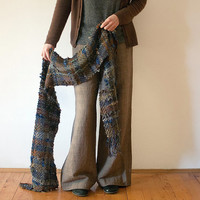 Unisex handwoven scarf / shawl, blue gray brown, fall winter fashion, OOAK