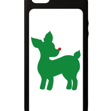 Cute Red and Green Rudolph - Christmas iPhone 5C Grip Case  by TooLoud