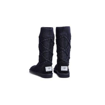 Black Friday Ugg Boots Knit Classic Argyle 5879 Black For Women 95 33