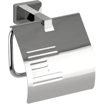 DI NY Wall Toilet Paper Holder W/ Lid Cover Tissue Roll Dispenser - Brass Chrome