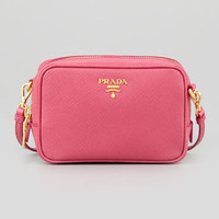 Saffiano Mini Zip Crossbody Bag, Pink