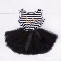 "Baby Toddler Girl Black/White Striped ""Two"" Birthday Year Stripe and Tulle Skirt Dress Set 18-24 Mo size"