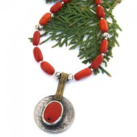 Vintage Kuchi Coin Pendant Necklace, Red Coral Tribal Handmade Jewelry