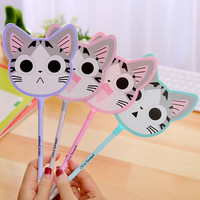 Q01 Cute Kawaii Fan Style Cool Cheese Cat Gel Pen Writing School Office Supply Student Prize Gift Stationery Signing Pen