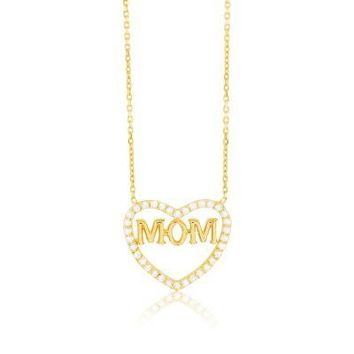 Mom Heart Necklace Yellow Gold with Flawless CZ