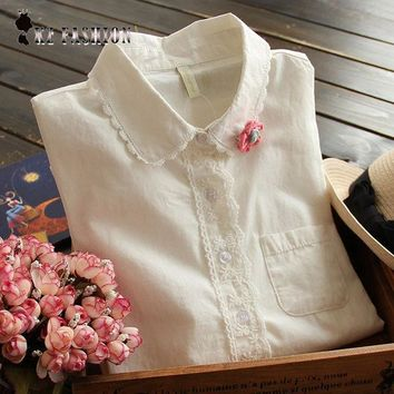 ICIKF4S White Blouse Button Up Lace Crochet Turn Down Collar Long Sleeve Cotton Top Shirt with Pocket Size S-L blusas feminina T58324