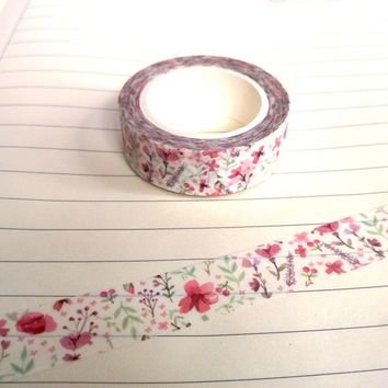 1X DIY Japanese Paper Cherry Blossom Washi Tape Paper Masking Tapes Adhesive Tapes Stickers Decorative Stationery Tape 1.5cm*10m