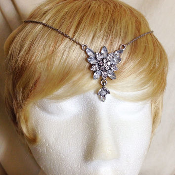 Silver and crystal fairy elvin dangle bohemian gypsy headdress