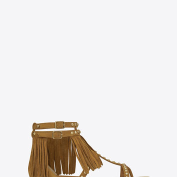 Saint Laurent NU PIEDS FRINGED FLAT SANDAL IN Tan Suede AND Gold TONED METAL STUDS - ysl.com