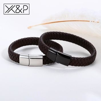 X&P Fashion Black/Brown Braided Leather Bracelets for Women Men Punk Stainless Steel Magnetic Clasp Bracelet Jewelry