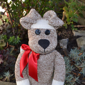 Puppy Dog Sock Monkey - Doggie with or without Heart Name Tattoo & Choice of Colors, Soft Plush, Children's Toy