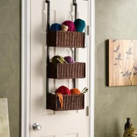 Upton Home Burnet Espresso Over the Door 3-tier Basket Storage - Walmart.com