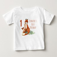 First Birthday with Foxes Watercolor Drawing Baby T-Shirt