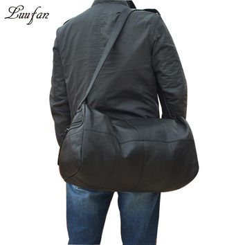 Big capacity genuine leather travel bags men women soft cowhide casual travel duffel high quality cow leather shoulder bag