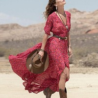"Boho Maxi Dress Red Floral Chiffon ""Ramblin Rose"" Thin Breezy Summer Gown 3/4 Sleeves Country Girl XS Small Medium Or Large"