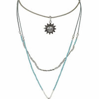 Sun and Bead Multi-row Necklace - Turquoise