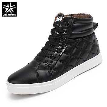 URBANFIND New Arrival Shoes Men Winter Boots Size 39-44 PU Leather Man Fashion Snow Boots Fur Lining Man Warm Footwear