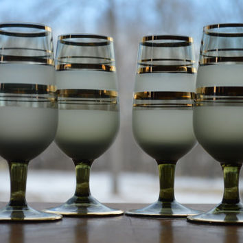 Avocado Green Frosted Cordial Glasses-Set of 4-Gold Trim