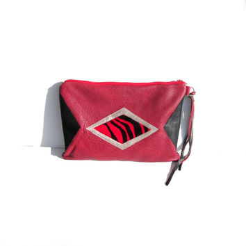 Leather Clutch // Geometric Purse Bag // Red Black // Pony Calf Hair // Lined // Summer // Wedding