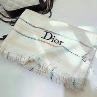 Dior Hot Sale Popular Women Cashmere Cape Scarf Scarves Shawl Accessories White