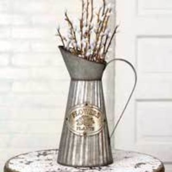 Farmhouse Galvanized Vintage Industrial Tall Metal Pitcher With Handle