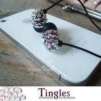 Rainbow Effect Swarovski Crystal Earphone Headphone Earbuds Handsfree for iPhone 3G 4G or Any 3.5mm Plug
