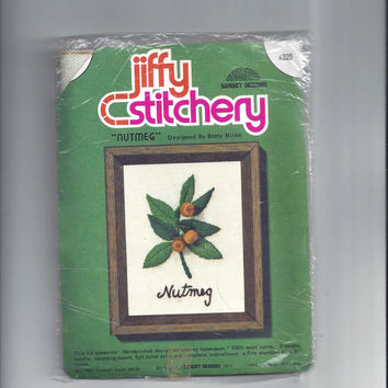 Vintage Jiffy Stitchery Crewel Embroidery Kit for Nutmeg, Sunset Designs, Design by Betty Miles, 1973, Original Package, Vintage Craft Kit