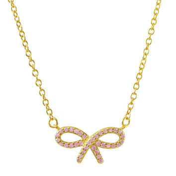 Gold Plated Sterling Silver,Pink CZ Bow Necklace