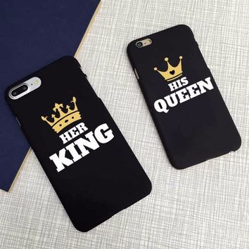 New arrival Text Black Background Hir Queen Her King Cover Case For iPhone 5 5S 6 6s 6Plus 7 7Plus 8 8Plus X SE protective Cover