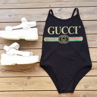 GUCCI Hot Sale Women Swimming Backless Cross One Piece Bikini Cotton Bodysuit B-KWKWM Black