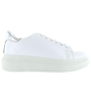 VONES2C Wanted Chervil - White/Silver Lace-Up Platform Wedge Sneaker