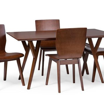 Baxton Studio Elsa Mid-century Modern Scandinavian Style Dark Walnut Bent Wood 5 Pieces Dining Set Set of 1