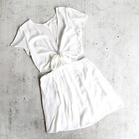 Final Sale - Angelia Mid Cut Out Dress in White