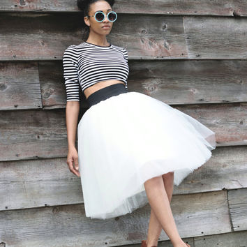 Tulle Skirt | Ivory Mid-length Tutu Cute Skirt with Elastic Waistband)