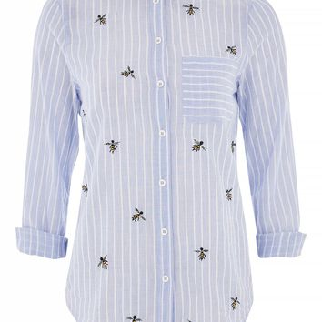 Bumblebee Embroidered Shirt | Topshop