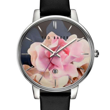 Ted Baker London Floral Dial Black Leather Strap Watch