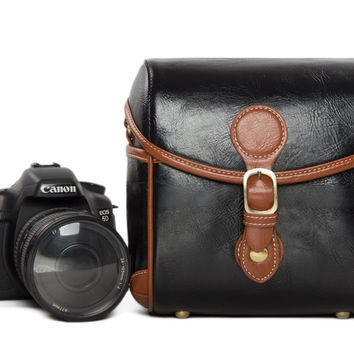 Vintage PU Leather Retro Camera Shoulder Bag DSLR Camera Bag for Nikon Canon Sony Bag 288 Black