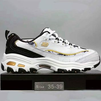 Skechers Fashion Casual Running Sports Sneakers Shoes White+Golden G-XYXY-FTQ