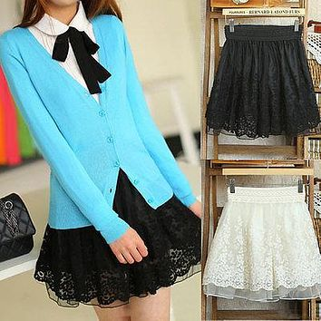 Main Season Korean Girls Ladies Skirt Waist Bubble Tutu Floral Lace Tulle Mini Skirt R6