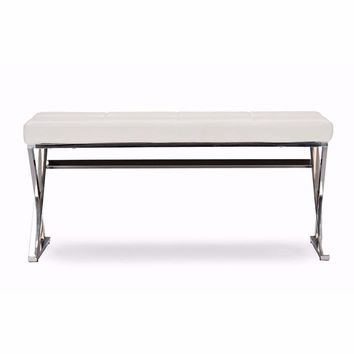 Stainless Steel and White Faux Leather Upholstered Rectangle Bench By Baxton Studio