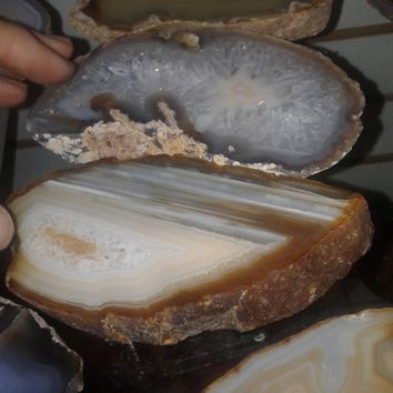 THICK Agate Slab Brazil Natural Color Agate Slices Slice Agate Agate Geode Geodes Crystals Agate Stone Agate Crystal Raw Agate Natural Agate