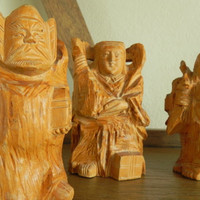 Buddha Statue Wood Carvings // Carved Wood Figurines // Buddha Statue