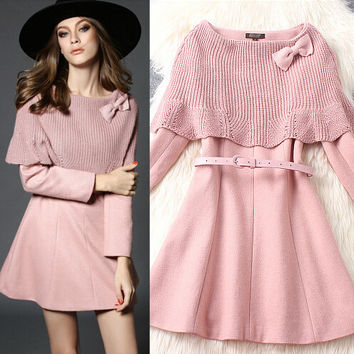 Fashion cape-style wool dress