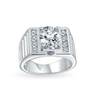 6CT Oval Solitaire AAA CZ Mens Engagement Ring Silver Plated Brass