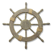 Furnistar Ornamental Home Decor Nautical Ship Steering Wheel Wall Decoration Wood and Rope 24""