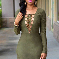 Olive Green Plunging Neck Lace-up Bust Faux Suede Dress