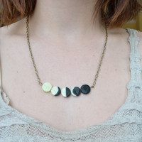 Moon Phase Necklace Glow In The Dark by LunaMothShop on Etsy